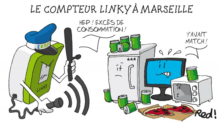 ERDF équipent les foyers marseillais des nouveaux compteurs intelligents Linky. Dessin Red pour le Ravi.