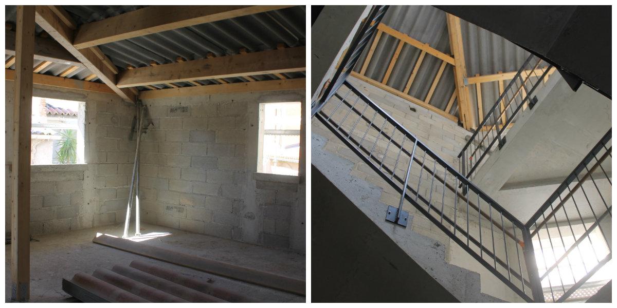 L'intérieur de l'ilôt Abadie en septembre 2015, avant les travaux de finitions. Les immeubles ont été assemblés autour d'une grande cage d'escaliers surplombée par un puits de lumière