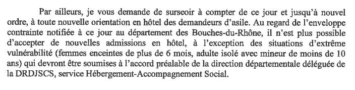 Extrait d'une lettre de la DDCS à l'association HPF en date du 27 avril.