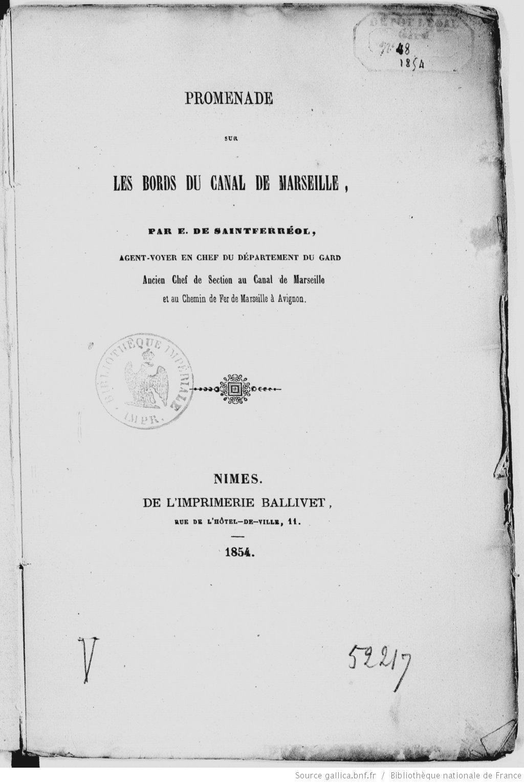 """Couverture de l'ouvrage """"Promenade sur les bords du canal de Marseille"""" (source : Gallica)"""