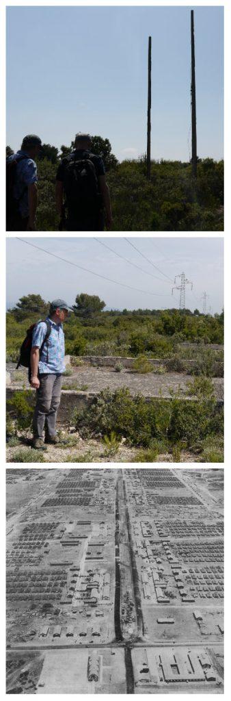 Les poteaux électriques, les dalles, ainsi qu'une vue aérienne du camp, trouvée sur un forum américain