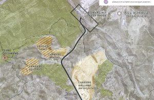 Orientations d'aménagement du plan local d'urbanisme. Les implantations de Lafarge dans le secteur sont traversés par la route menant à l'A55.