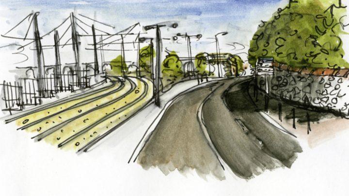 Le voyage en tram vers les Caillols par Sophie Bertran de Balanda