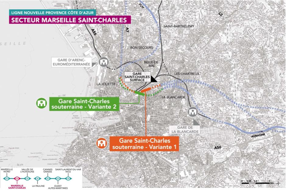 Deux scénarios pour une gare souterraine.