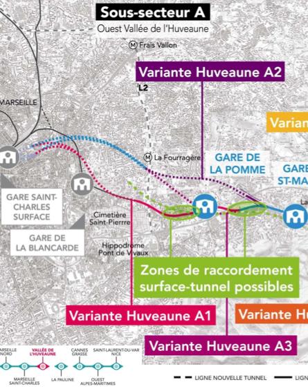 Les deux variantes de sorties de Marseille par la vallées de l'Huveaune.
