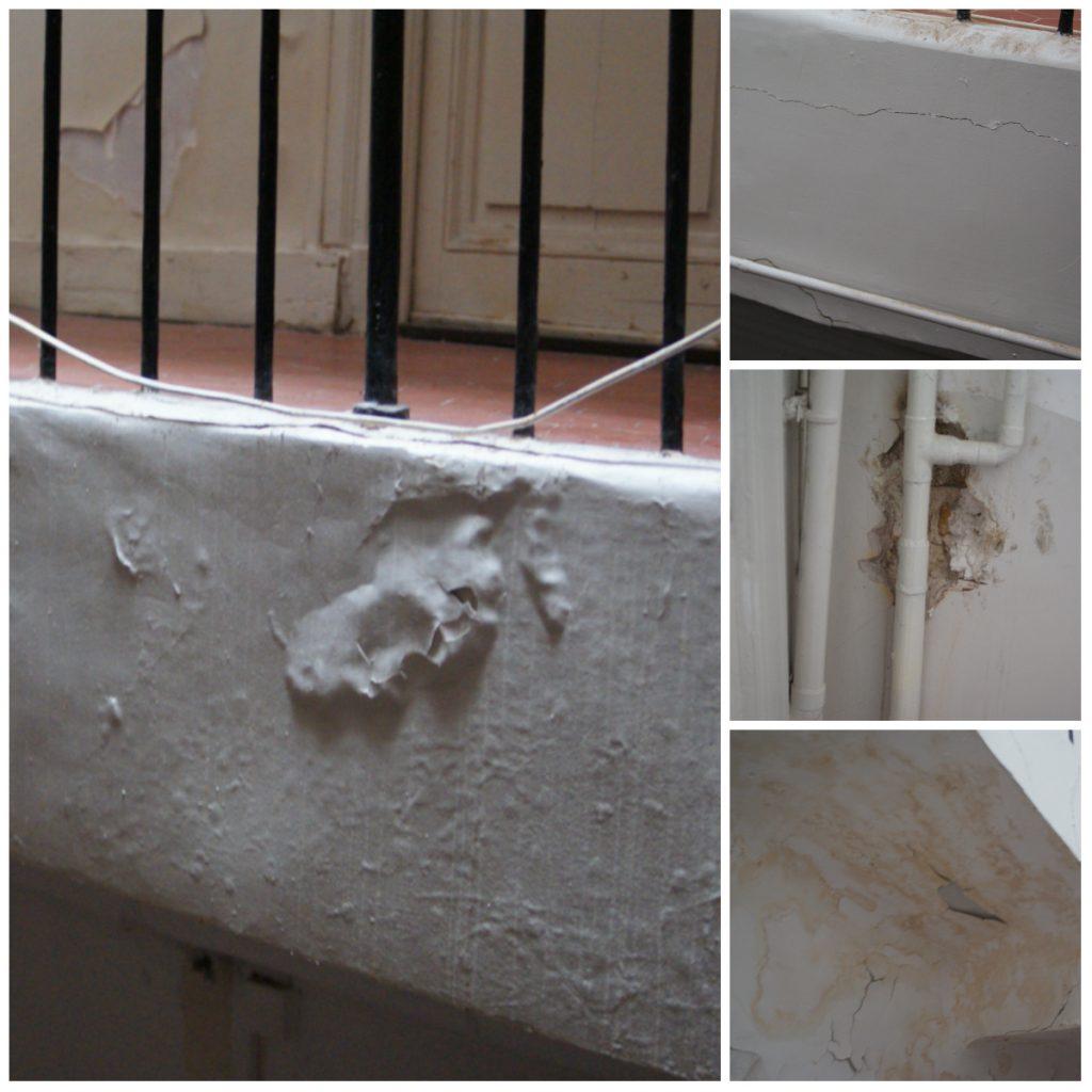 Détails des escaliers de l'immeuble après la levée de l'arrêté de péril. (crédit LC)