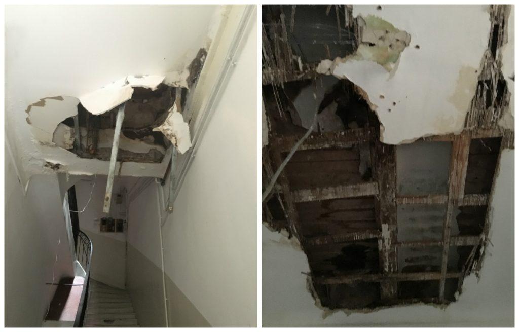 À gauche le trou par lequel les enfants sont tombés, à droite le plafond du 2e étage le 10 août.