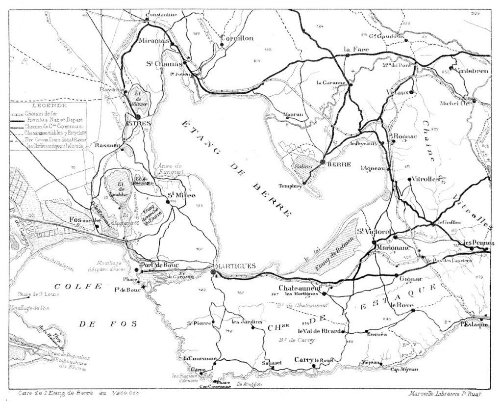 Une carte de l'étang de Berre édité par Paul Ruat.