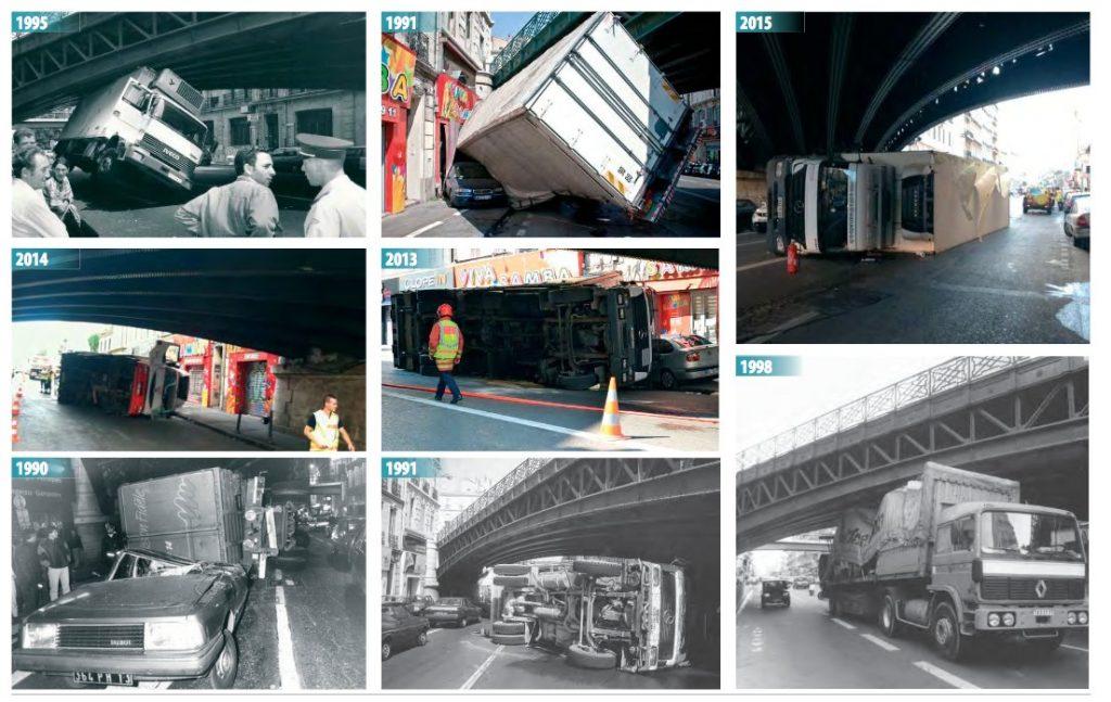 Petit best of des accidents de camion sous un des deux ponts du cours Lieutaud (source Agam)