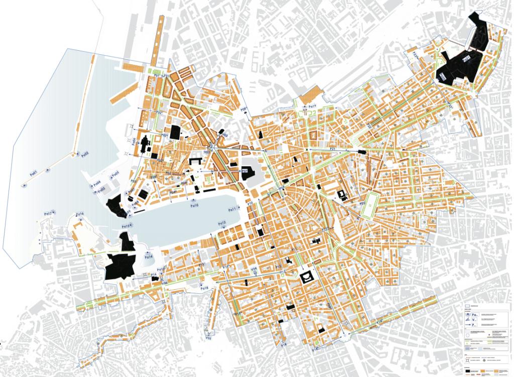 La carte du périmètre réglementaire avec en noir les monuments historiques, en orange les éléments soumis à prescriptions et en gris ceux qui ne le sont pas.